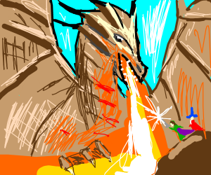 Dragon staring down some plyers