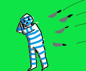 blue and white striped man attacked by knives