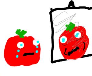 Tomato in the mirror