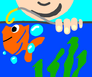Fishing in an aquarium