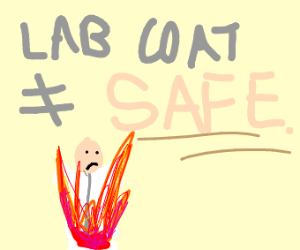 person in lab coat on fire