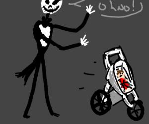 Jack Skellington loses control of baby buggy