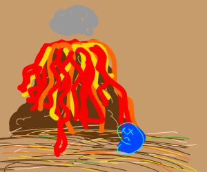 Desert volcano erupting, killing a blue bean