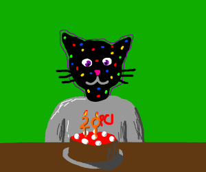 cat with skittles pox while its his 20th bday