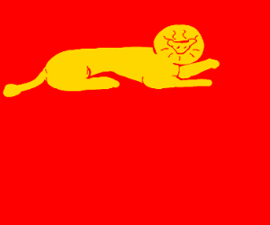A golden lion, rampant on a red field.