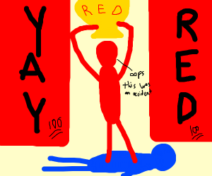 Red boi accidentally triumphs over blue