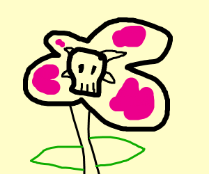 Flower with a skull in the center