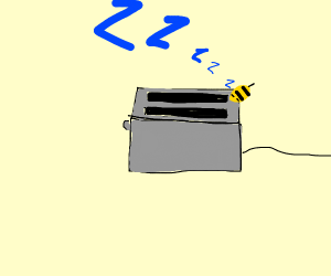 A bee sleeping on a toaster