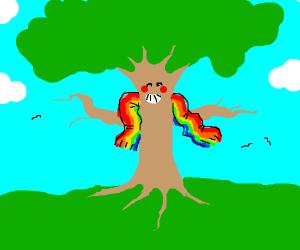 Gay pride tree and sky
