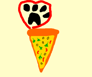 """Your vege pizza with blue """"things"""""""