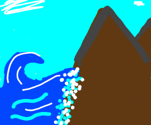 wave crashing side of mountain