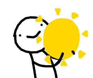 man captures sun