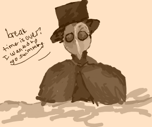 Plague doctor swimming