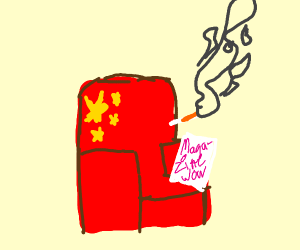 Asian armchair smoking and reading magazine