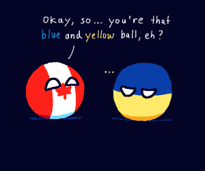canada flag ball and a blue and yellow ball