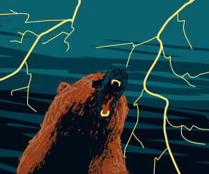 bear growls with lightning