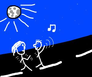 Couple dancing in the moonlight