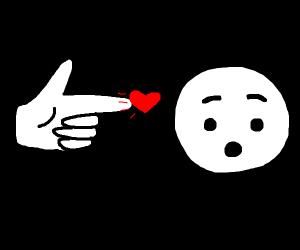 Finger pistols at suprised emoji