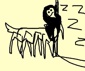 spider-centaur woman sleeps