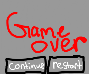 GAME OVER screen with a continue option