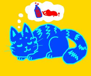 Cat dreams of ketchup