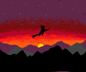 witch flying at sunrise