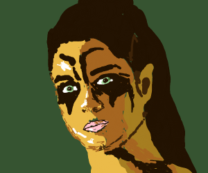 Angry Looking Female With War Paint