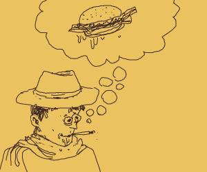 cowboy thinking about a bacon burger