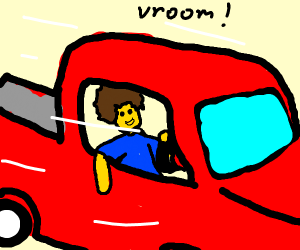 Afro-Guy Driving a Red Truck