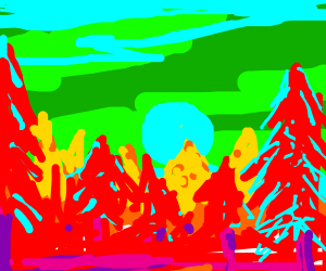 Sunset over forest, colors reversed