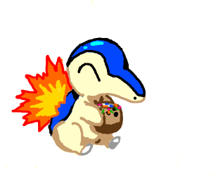 cyndaquil eating a coconut w/ sprinkles