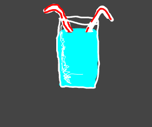 Glass of water with 2 bendy straws