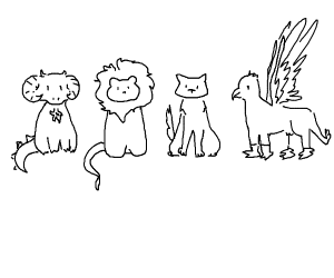 a dragon, a lion, a wolf and a griffin