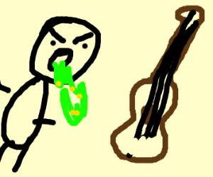 Guy throwing up at guitar