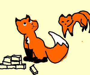 A fox with some bricks