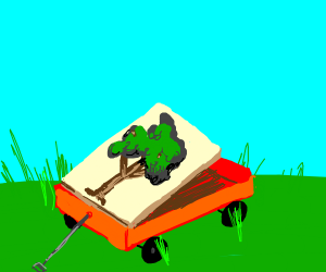 A painting of a tree in a red wagon