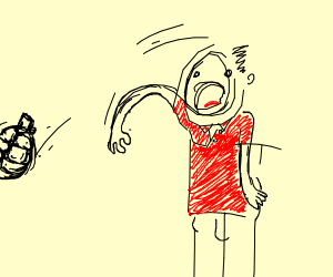 Red man in polo throws grenade