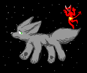 grey fox floats in space with the devil