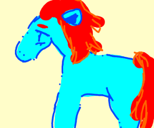 Blue horse with red mane and tail