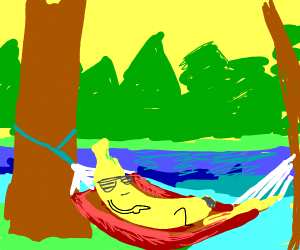 A banana chilling on a hammock