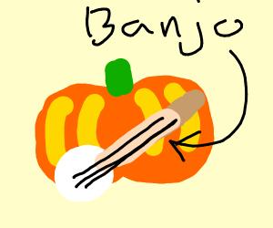 big pumpkin playing the banjo