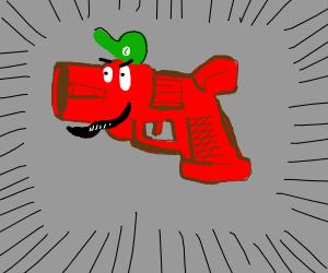 Luigi morphs into a red gun