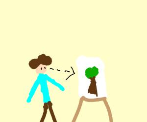 Bob Ross staring at his painting