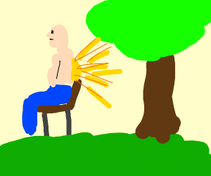 man sitting in the park having a flashback