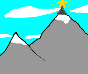 Star shining on top of mountain