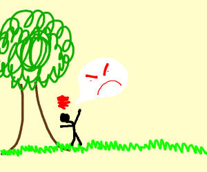 a man is angry at a tree