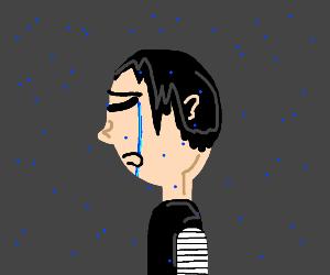 Me is sad with rain