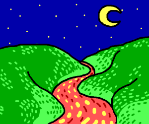 The night sky over grass and a river of lava