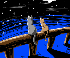 2 cats sitting on a branch watching the stars