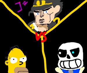 Jojo fight between Homer and Sans.